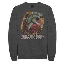 Мужской флисовый пуловер с логотипом Jurassic Park T-Rex Explosion Tropical с графическим рисунком Jurassic World