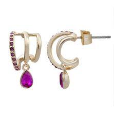 LC Lauren Conrad Gold Tone Three-Row Pave Hoop Earrings LC Lauren Conrad