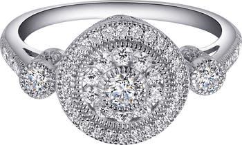 Изящное кольцо из стерлингового серебра со связкой из платины с паве с имитацией бриллианта LaFonn