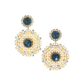 Antique Goldplated, Sapphire-Color Glass & Crystal Filigree Flower Drop Clip-On Earrings Kenneth Jay Lane