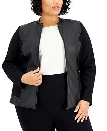 Plus Size Mixed-Media Jacket, Created for Macy's Alfani
