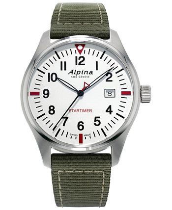 Мужские швейцарские часы Startimer Pilot с зеленым нейлоновым ремешком 42 мм Alpina