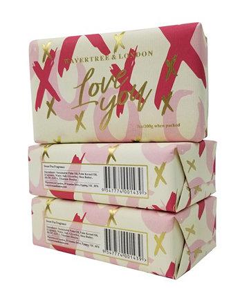 Love You - Xox - Кусковое мыло, упаковка из 3 штук по 7 унций каждая Wavertree & London