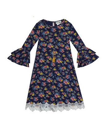 Вязаное платье в рубчик с принтом Little Girls Rare Editions
