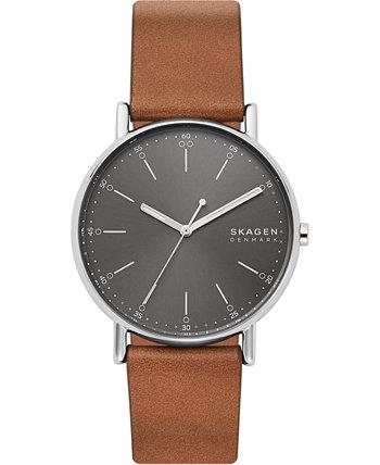 Мужские часы Signatur с коричневым кожаным ремешком 40мм Skagen