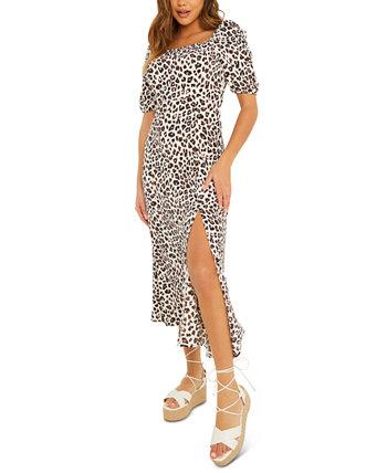 Платье со сборками и рюшами на рукавах с животным принтом Quiz