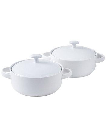 Запекать сервировочные тарелки для безопасного супа с ручками и крышками - 20 унций, набор из 2 шт. Bruntmor