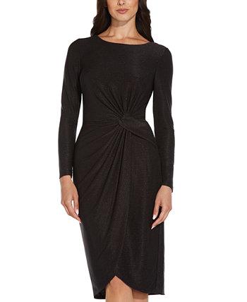 Платье-футляр с длинными рукавами цвета металлик Adrianna Papell