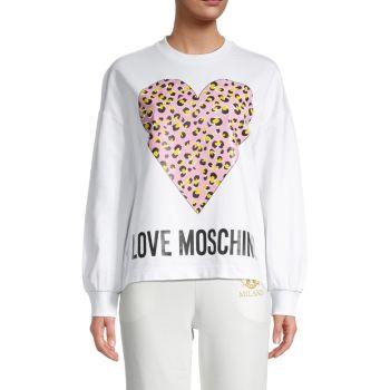 Heart Logo Graphic Sweatshirt LOVE Moschino