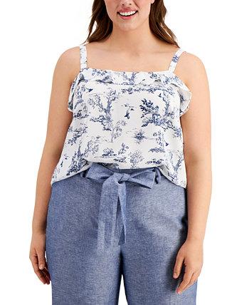 Модная блузка с рюшами и принтом больших размеров, созданная для Macy's Bar III