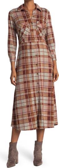 Платье-рубашка с пуговицами спереди в клетку Sandra Darren