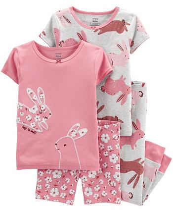 Пижама для маленьких девочек Bunny Snug Fit, комплект из 4 предметов Carter's