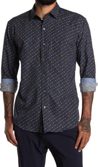 Рубашка из хлопка в полоску с цветочным рисунком BUGATCHI