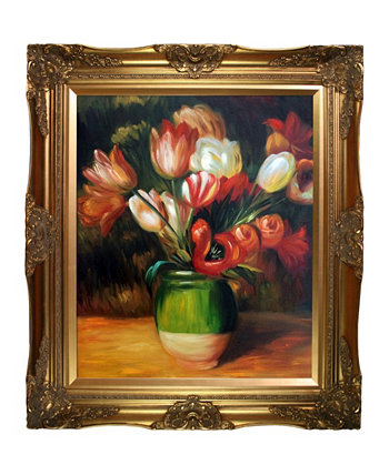 "By Overstockart Tulips In A Vase with Victorian Frame, 28"" x 32"" La Pastiche"