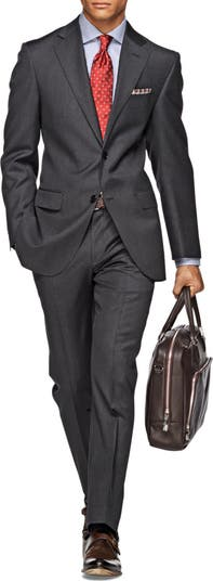 Темно-серый шерстяной костюм в тонкую полоску Antra Napoli с двумя пуговицами и лацканами отделяет жакет SUITSUPPLY