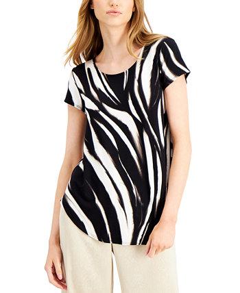 Petite Printed T-Shirt, Created for Macy's Alfani