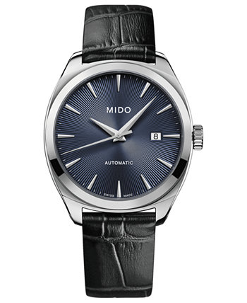 Мужские швейцарские автоматические часы Belluna Royal с черным кожаным ремешком 41 мм MIDO