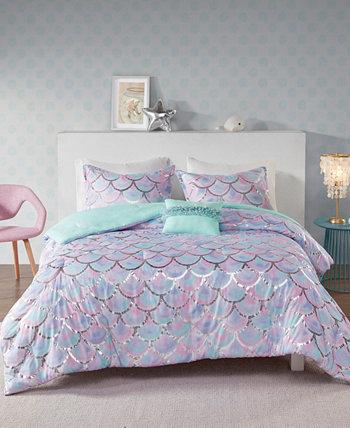 """Двустороннее одеяло с металлическим принтом, состоящее из 4 предметов, полное / с кроватью размера """"queen-size"""" Mi Zone"""