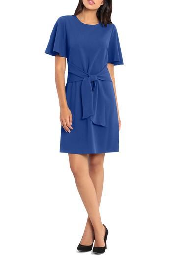 Платье из крепа с завязками спереди и вырезом (Petite) Donna Morgan