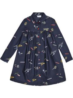 Платье с длинными рукавами и несколькими значками Aop (для маленьких / больших детей) Lacoste Kids