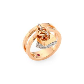Sauvage Privé 18K розовое золото & amp; Кольцо-шарм с бриллиантовым паве Roberto Coin