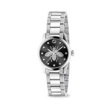 Нержавеющая сталь G-Timeless & amp; Часы-браслет Diamond Bee Dial GUCCI