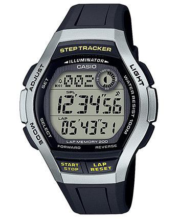Мужские часы Digital Step Tracker с черным полимерным ремешком, 44,2 мм Casio