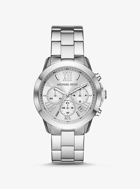 Крупногабаритные серебристые часы Michael Kors