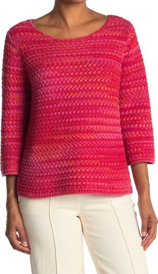Трикотажный свитер с рукавами 3/4 и плетением корзины St. John Collection