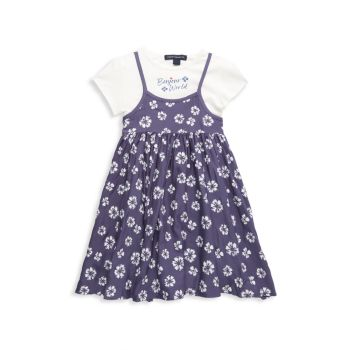 Little Girl's 2-Piece Top & Floral Dress Set French Connection