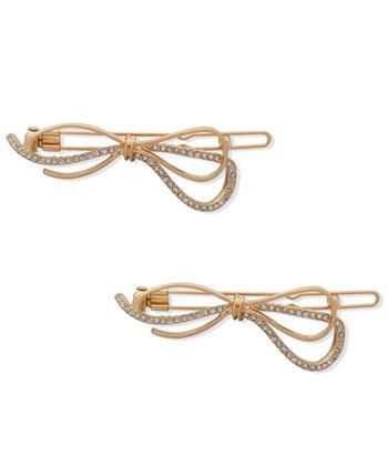 2-шт. Набор золотых заколок для волос с бантом и паве Lonna & lilly