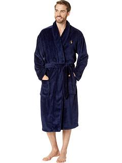 Плюшевый халат с длинным рукавом из микрофибры с шалевым воротником Ralph Lauren