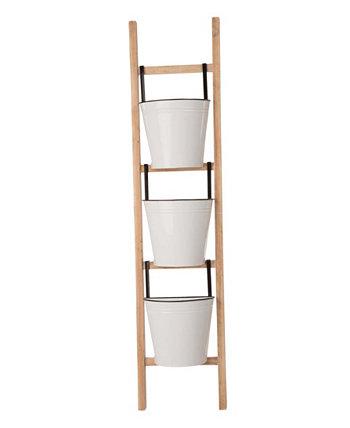 Деревянная 3-х уровневая подставка для кашпо с наклонной лестницей, 42 дюйма, эмалированная, металлическая Glitzhome