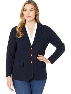 Пиджак большого размера из чесаного нейлона с длинными рукавами и длинным рукавом Ralph Lauren
