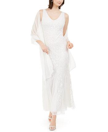 Бисерное платье и шарф J Kara