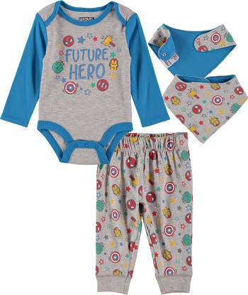 4-Piece Captain America Outfit With Bib Set HAPPY THREADS