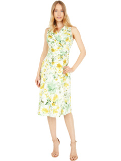 Serenity Floral Fit-and-Flare Notch Collar Cotton Midi Dress London Times