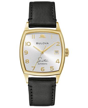 Мужские часы Frank Sinatra Automatic с черным кожаным ремешком 45x33,5 мм Bulova