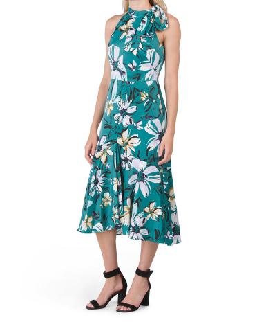Printed Tie Neck Halter Dress Maggy London