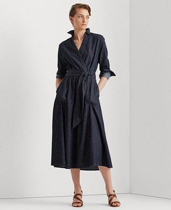 Джинсовое платье миди с искусственным запахом и поясом Ralph Lauren