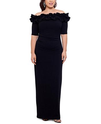 Платье больших размеров с открытыми плечами и оборками XSCAPE