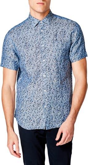 Приталенная льняная рубашка с короткими рукавами и цветочным принтом On Point на пуговицах Good Man Brand