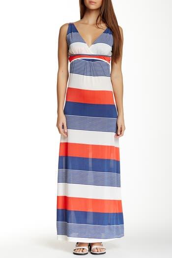 Платье макси в полоску с V-образным вырезом Papillon