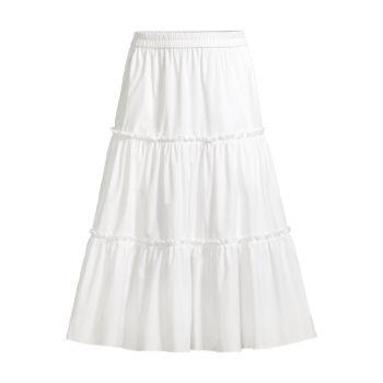 Cotton Ruched Tiered Skirt Jason Wu