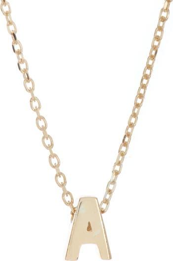 Ожерелье с подвеской в виде инициала из стерлингового серебра с покрытием из 14-каратного золота ADORNIA