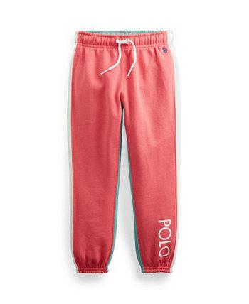 Флисовые брюки-джоггеры Little Girls с цветными блоками Ralph Lauren