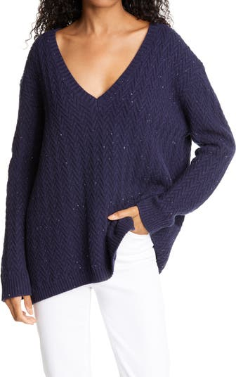 Вязаный кашемировый свитер с шевронами Nordstrom Signature