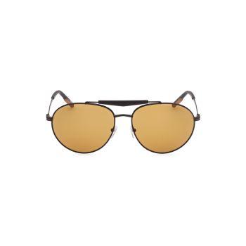 Круглые солнцезащитные очки в металлической оправе 61 мм Zegna