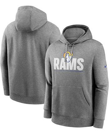 Толстовка с капюшоном для больших и высоких мужчин с темно-серым покрытием Los Angeles Rams Team Impact Club Nike