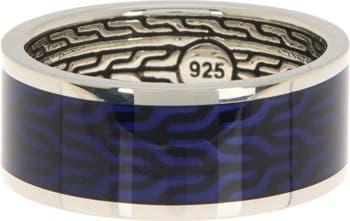 Классическое эмалевое кольцо с рисунком пшеничной цепочки - размер 11 JOHN HARDY